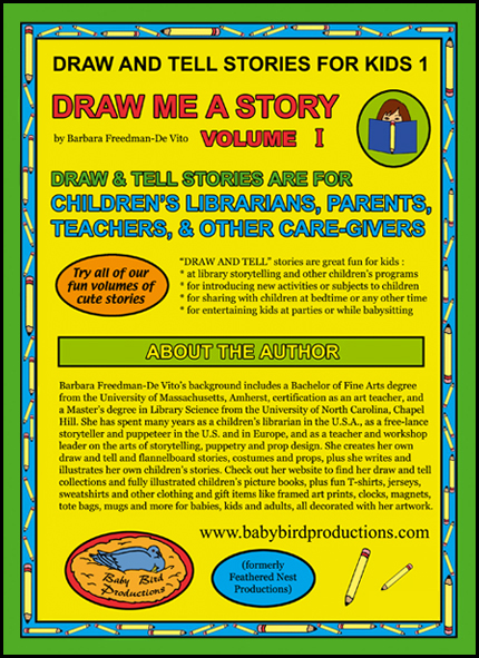 Draw and Tell Stories for Kids book back cover from the Draw Me a Story series